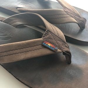 Rainbow Flip Flops - Dark Brown